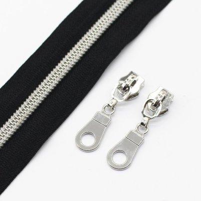 zipper black and silver